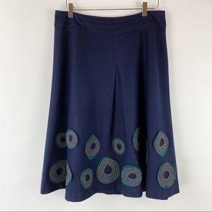 Boden Navy Wool Blend Skirt Circle Applique 14L